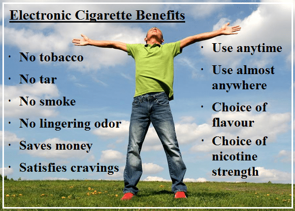 Electronic cigarette benefits