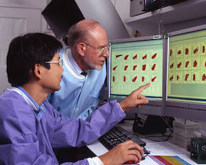two men and computer in a lab